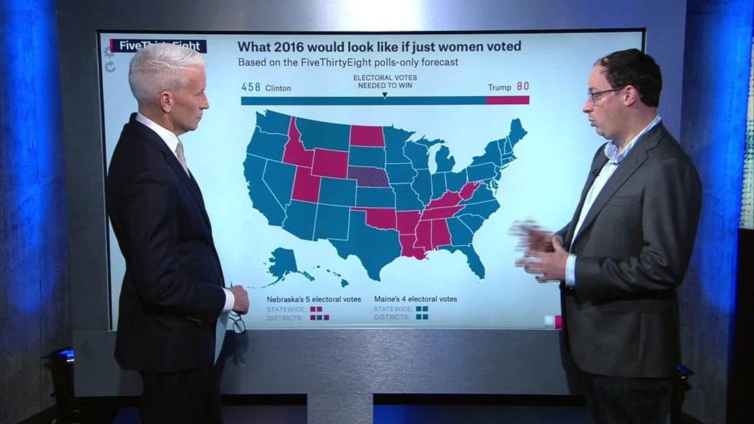 Electoral Map What If Only Women Voted CNN Video - Cnn us election map