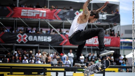 Skateboarder Dylan Rieder competes in the X Games Los Angeles SLS Select Series in 2013.