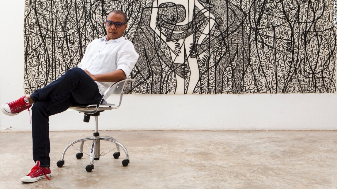 """I am constantly referencing my village. From there I expand to the world because it's from that source that I see the world,"" says Nigerian born Victor Ehikhamenor. The artist is considered one of the most important contemporary African artists to emerge from Nigeria."
