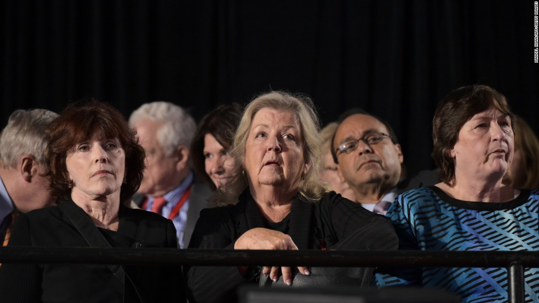 "Kathleen Willey, left, Juanita Broaddrick and Kathy Shelton sit in the audience at the second presidential debate between presidential nominees Donald Trump and Hillary Clinton in St. Louis, Missouri, on Sunday, October 9. Trump held a news conference with the three women, as well as Paula Jones -- each of whom have in the past<a href=""http://www.cnn.com/2016/10/09/politics/donald-trump-juanita-broaddrick-paula-jones-facebook-live-2016-election/"" target=""_blank""> made allegations against</a> Hillary and her husband, former President Bill Clinton -- less than two hours before the town hall-style debate."
