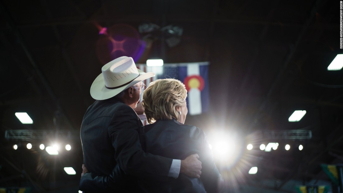 "Former US Sen. Ken Salazar, left, of Colorado embraces Democratic presidential nominee Hillary Clinton during a rally in Pueblo, Colorado, on Wednesday, October 12. The Clinton campaign announced that Salazar, who also served as President Barack Obama's secretary of the interior, <a href=""http://www.cnn.com/2016/08/16/politics/hillary-clinton-transition-team-ken-salazar/"" target=""_blank"">will head the transition</a> for a potential Clinton administration."