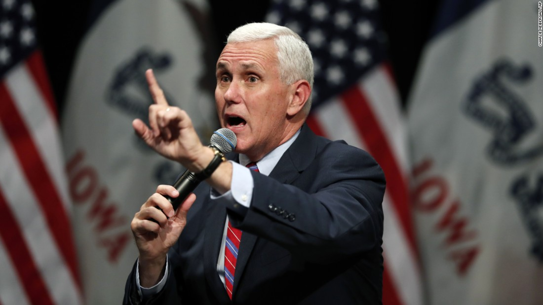 Republican vice presidential nominee Mike Pence speaks at a campaign rally in Newton, Iowa, on Tuesday, October 11.