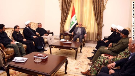 Iraqi Prime Minister Haider al-Abadi meets PMU leaders Saturday.