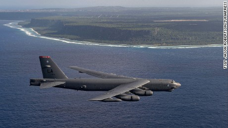 A U.S. Air Force B-52H Stratofortress strategic bomber from the 96th Expeditionary Bomb Squadron during exercise Cope North in 2015 off the coast of Guam.
