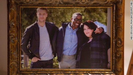 "Justin Hartley as Kevin, Sterling K. Brown as Randall, Chrissy Metz as Kate from NBC's ""This is Us."""