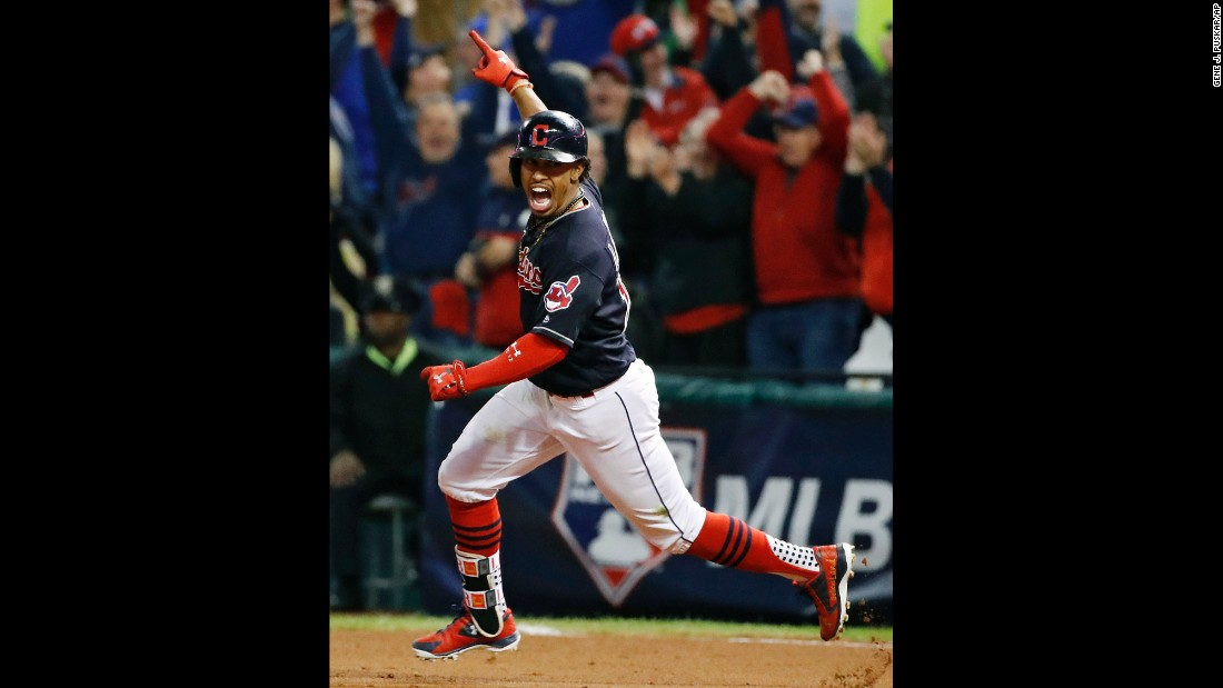 Cleveland's Francisco Lindor celebrates a two-run homer in Game 1 of the American League Championship Series on Friday, October 14. The Indians won 2-0.