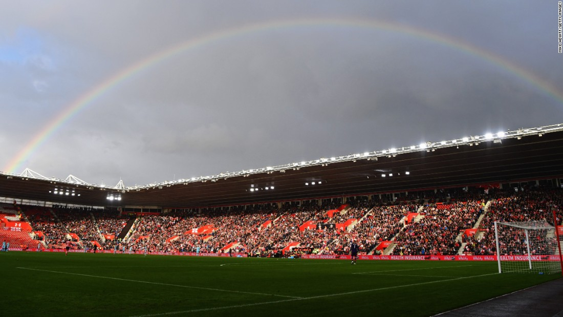 "A rainbow is seen over St. Mary's Stadium during a Premier League match in Southampton, England, on Sunday, October 16. <a href=""http://www.cnn.com/2016/10/11/sport/gallery/what-a-shot-sports-1011/index.html"" target=""_blank"">See 35 amazing sports photos from last week</a>"