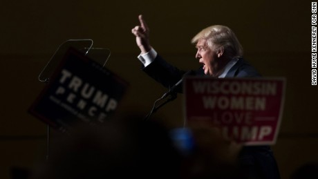 Trump supporters and Republican Presidential Candidate Donald Trump at a rally in Green Bay, Wisconsin, October 17.