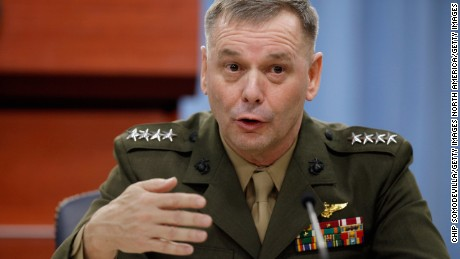 WASHINGTON, DC - JANUARY 28:  Vice Chairman of the Joint Chiefs of Staff Gen. James Cartwright holds a news briefing and update on the Don't Ask Don't Tell repeal implementation at the Pentagon January 28, 2011 in Washington, DC. On the heels of a visit from the Egyptian Army chief, Cartwright encouraged all the people involved in the recent unrest in Egypt -- including the army, police, politicians and protesters -- to show restraint.  (Photo by Chip Somodevilla/Getty Images)