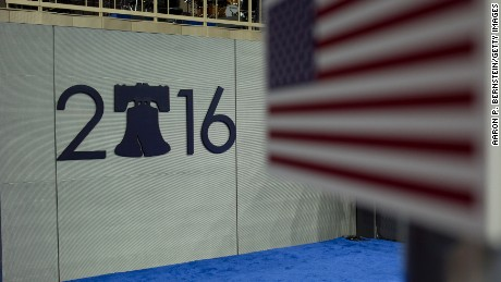 A logo is seen on the floor ahead of the  Democratic National Convention at the Wells Fargo Center July 23, 2016 in Philadelphia, Pennsylvania.