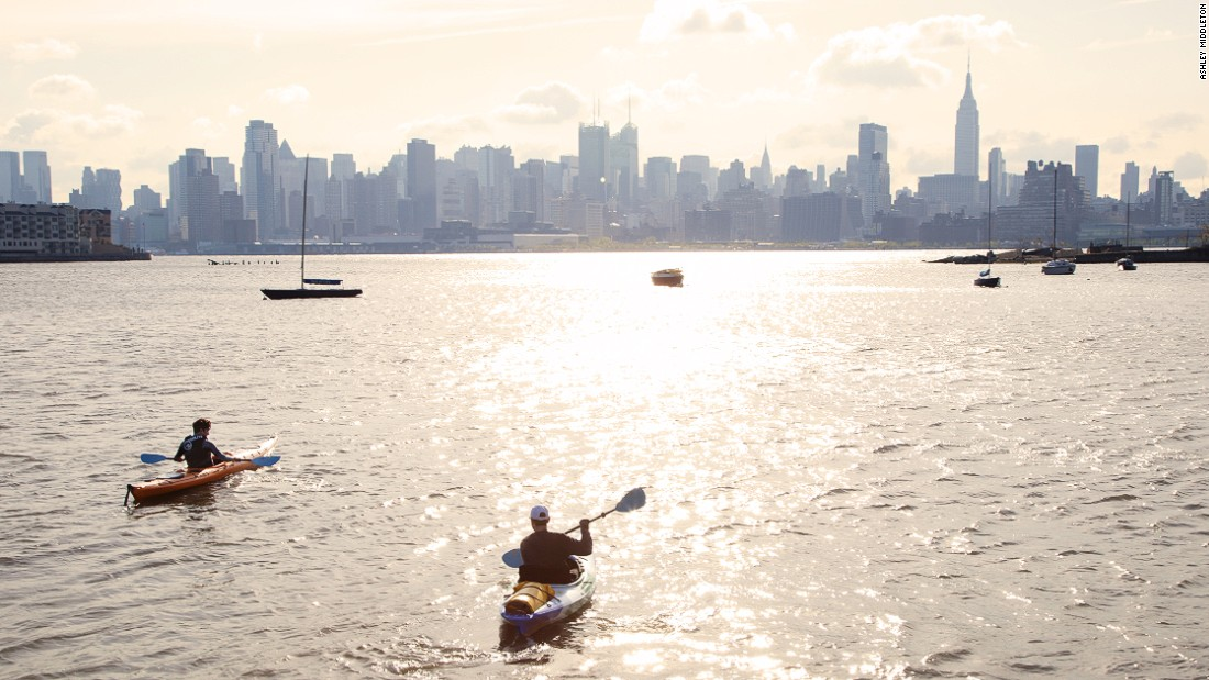 "Zach Schwitzky kayaks across New York's Hudson river to work each morning. A 20-minute paddle across the water plus a bit of walking each side gives a commute of 45 minutes. Photo by <a href=""https://www.instagram.com/amiddletonprojects/"" target=""_blank"">@amiddletonproject</a>."