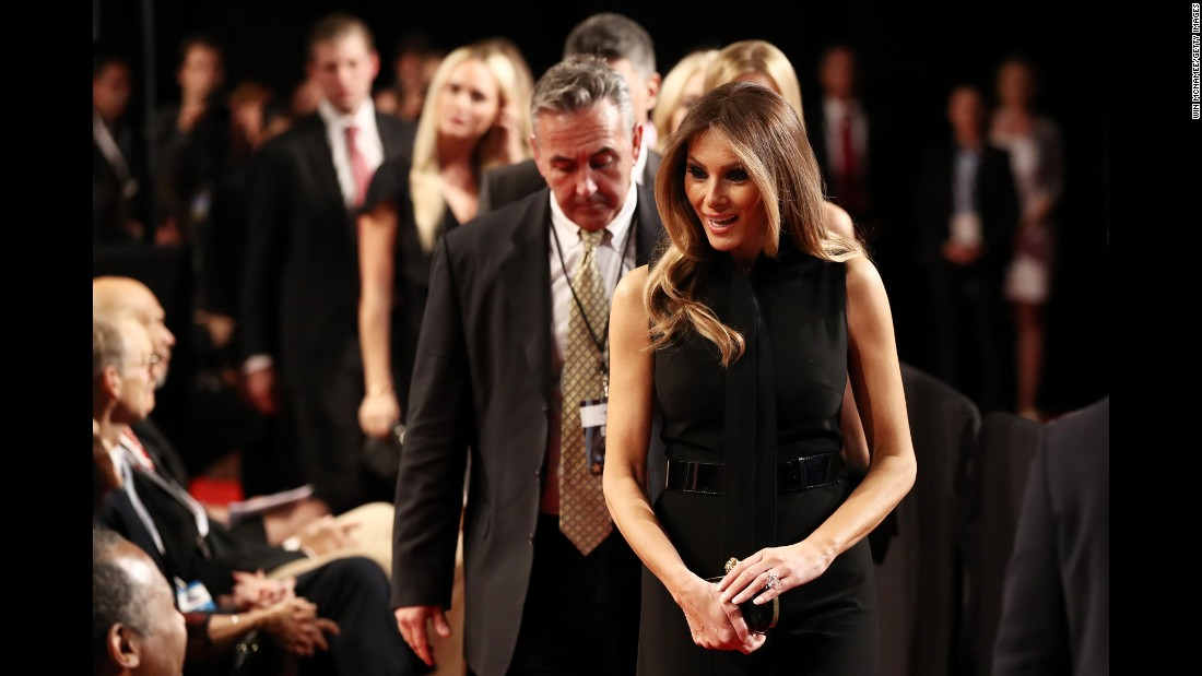 Trump's wife, Melania, arrives for the event.