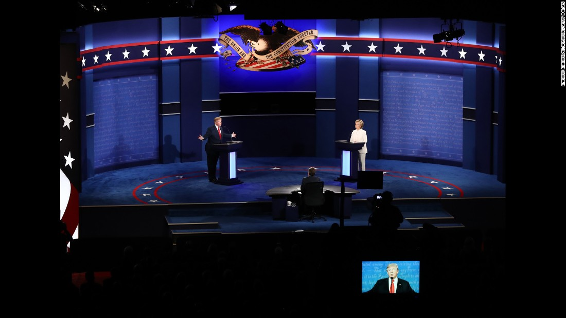 Trump speaks during the debate -- the third of three presidential debates this year. It took place 20 days before Election Day.