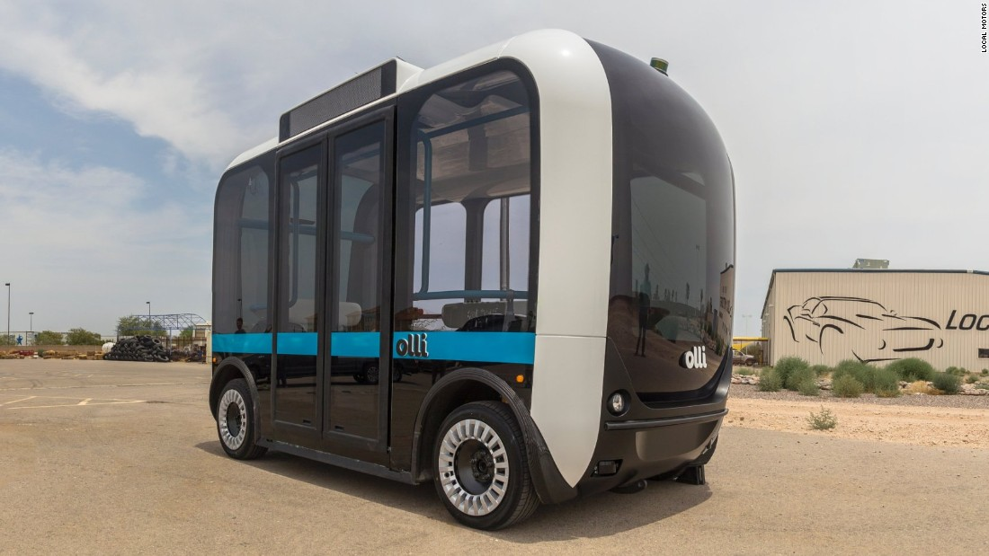 "The ""Olli"" is a self-driving, electric bus from Local Motors, which is currently on trial ahead of commercial launch in US cities including Las Vegas and Miami in 2017."