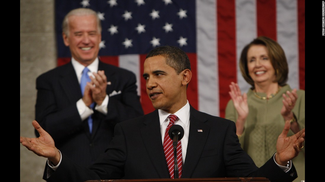 "Obama acknowledges applause before addressing a joint session of Congress <a href=""http://www.cnn.com/2009/POLITICS/02/24/obama.speech/index.html"" target=""_blank"">for the first time</a> on February 24, 2009. The President focused on the three priorities of the budget he presented to Congress later in the week: energy, health care and education."