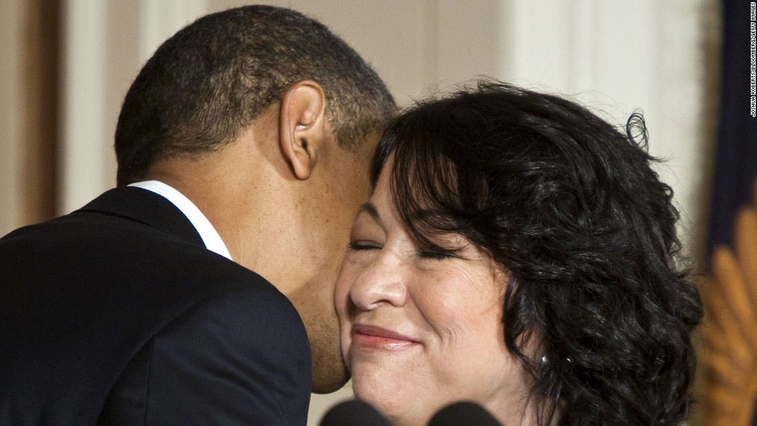 "Obama kisses Sonia Sotomayor after announcing her as a Supreme Court nominee on Tuesday, May 26. Sotomayor went on to become the court's<a href=""http://www.cnn.com/2009/POLITICS/08/06/sonia.sotomayor/index.html"" target=""_blank""> first Hispanic justice.</a>"
