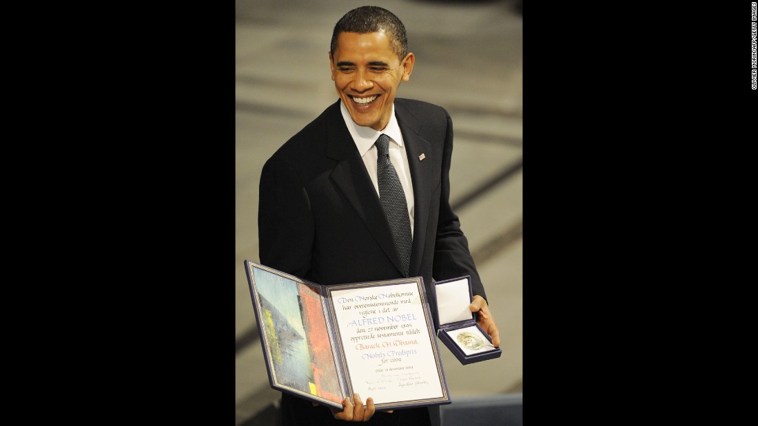 "Obama poses with a diploma and gold medal after <a href=""http://www.cnn.com/2009/WORLD/europe/10/09/nobel.peace.prize/index.html"" target=""_blank"">accepting the Nobel Peace Prize</a> in Oslo, Norway, on December 10, 2009. The Norwegian Nobel Committee said it honored Obama for his ""extraordinary efforts to strengthen international diplomacy and cooperation between peoples."" Obama was the fourth U.S. President to win the Nobel Peace Prize. Theodore Roosevelt, Woodrow Wilson and Jimmy Carter also received the award."