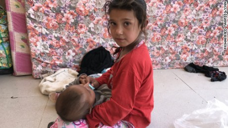An Iraqi girl and baby at Debaka Camp, near Irbil.