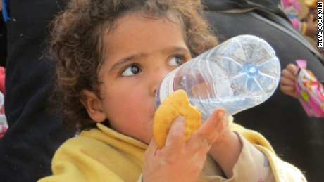 A newly-arrived child at Debaka Camp near Irbil in Iraq.
