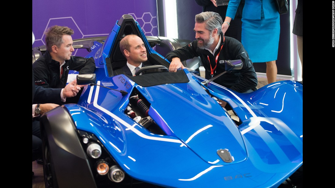 Britain's Prince William sits in a BAC Mono car at the National Graphene Institute in Manchester, England, on Friday, October 14.