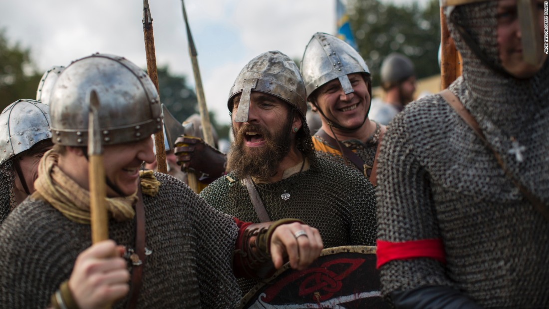 Men in Battle, England, prepare to re-enact the Battle of Hastings on Saturday, October 15. King William's victory in 1066 marked the beginning of the Norman conquest.