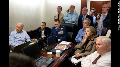 The famous photo of Obama administration officials watching the raid on Osama bin Laden's compound. Material on the table was blurred before the photo's release.