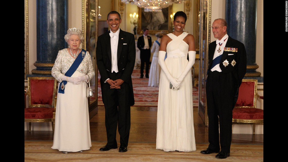 "During <a href=""http://www.cnn.com/2011/POLITICS/05/24/obama.europe.visit/"" target=""_blank"">his state visit to England,</a> Obama was also able to meet with Queen Elizabeth II and Prince Philip. The first couple gave the queen a handmade leather-bound album with rare memorabilia and photographs that highlighted the visit by her parents -- King George VI and Queen Elizabeth -- to the United States in 1939. To Prince Philip, they gave a custom-made set of pony bits and shanks and a set of horseshoes worn by a recently retired champion carriage horse. The Obamas were given copies of letters in the royal archives from a number of U.S. presidents to Queen Victoria. Michelle Obama also was given an antique broach in the form of roses made of gold and red coral."