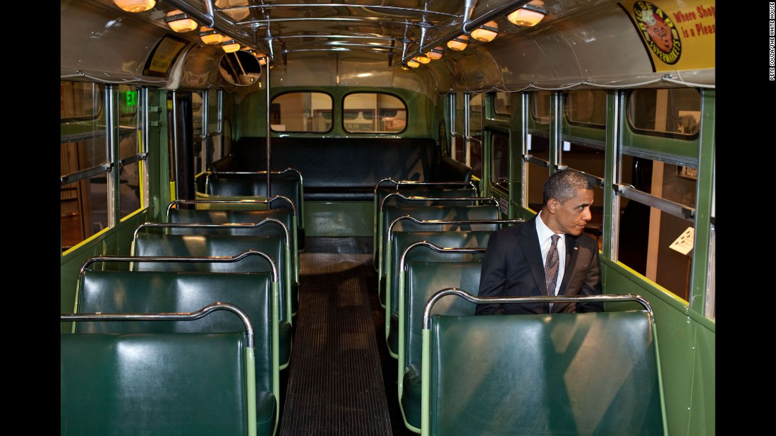 "During an event on April 18, 2012, Obama looks out of the famous Rosa Parks bus that was restored by the Henry Ford Museum in Dearborn, Michigan. ""I just sat in there for a moment and pondered the courage and tenacity that is part of our very recent history but is also part of that long line of folks who sometimes are nameless, oftentimes didn't make the history books, but who constantly insisted on their dignity, their share of the American dream,"" the President said."