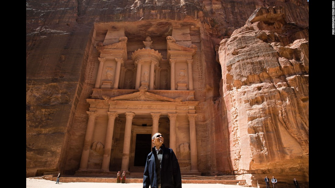 "The President <a href=""http://www.cnn.com/2013/03/23/politics/mideast-obama-trip/"" target=""_blank"">takes a tour</a> of the ancient city of Petra during a visit to Jordan on March 23, 2013. He was accompanied by a University of Jordan tourism professor, and all other visitors kept well away -- except for a few stray cats."