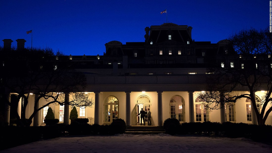 The President walks along the White House Colonnade on January 22, 2015.