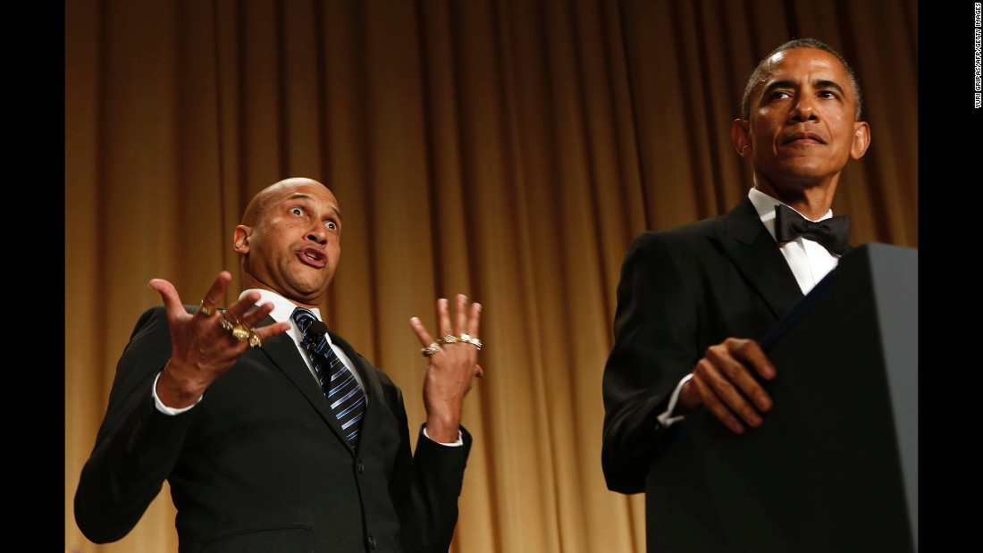 "Obama speaks next to comedian Keegan-Michael Key, who is playing Luther, <a href=""http://www.cnn.com/videos/politics/2015/04/26/whcd-sot-obama-anger-translator-luther.cnn/video/playlists/correspondents-dinner/"" target=""_blank"">""Obama's anger translator,""</a> at the annual dinner of the White House Correspondents' Association on April 25, 2015. <a href=""http://www.cnn.com/2015/04/26/politics/white-house-correspondents-dinner-obama-top-10/"" target=""_blank"">See the top 10 jokes from the dinner</a>"