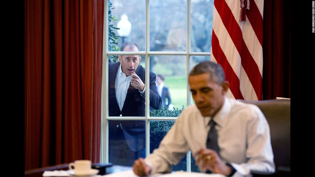 "Comedian Jerry Seinfeld knocks on the Oval Office window December 7, 2015, during a taping of his series ""Comedians in Cars Getting Coffee."" The two <a href=""http://www.cnn.com/2015/12/31/politics/barack-obama-jerry-seinfeld-comedians-in-cars-getting-coffee/"" target=""_blank"">drove around the White House</a> in a 1963 Corvette Stingray, drank coffee and talked politics in the episode."