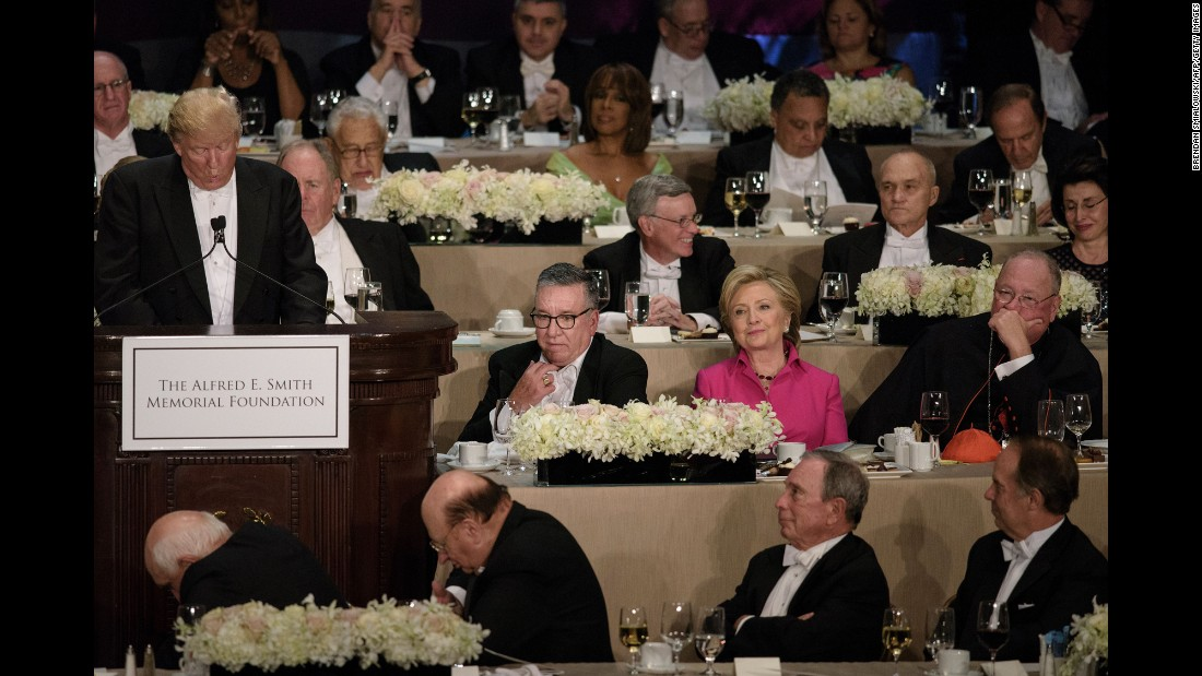 "Democratic presidential nominee Hillary Clinton listens to her Republican opponent, Donald Trump, speak at <a href=""http://www.cnn.com/2016/10/20/politics/al-smith-dinner-hillary-clinton-donald-tump/index.html"" target=""_blank"">the Al Smith charity dinner</a> in New York on Thursday, October 20. The annual event benefits Catholic charities and is often one of the final opportunities for presidential candidates to share a stage before the election. Historically, it has been a good-natured roast -- but CNN's Stephen Collinson said <a href=""http://www.cnn.com/2016/10/21/politics/al-smith-dinner-hillary-clinton-donald-trump-campaign/index.html"" target=""_blank"">Clinton and Trump struggled to disguise the anger, bitterness and sheer open dislike</a> that has pulsed through the race."