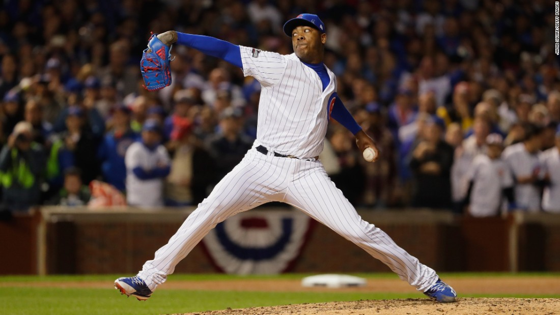 Aroldis Chapman of the Cubs throws a pitch in the ninth inning against the Dodgers.