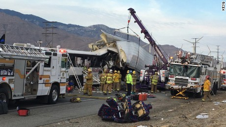 A tour bus crashed into a tractor trailer on I-10 near Palm Springs, California at 5:17am, on October 23.