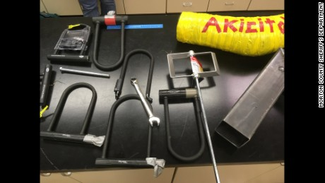 Law enforcement seized items protesters used to attach themselves to vehicles.
