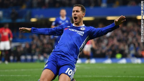 Man of the match Eden Hazard put the game out of reach for Manchester United by scoring Chelsea's third.