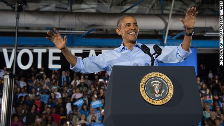President Barack Obama speaks at a campaign event for Democratic presidential candidate Hillary Clinton in Las Vegas on October 23, 2016.