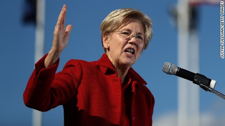 Sen. Elizabeth Warren (D-MA) speaks during a campaign rally with democratic presidential nominee former Secretary of State Hillary Clinton at St Saint Anselm College on October 24, 2016 in Manchester, New Hampshire.