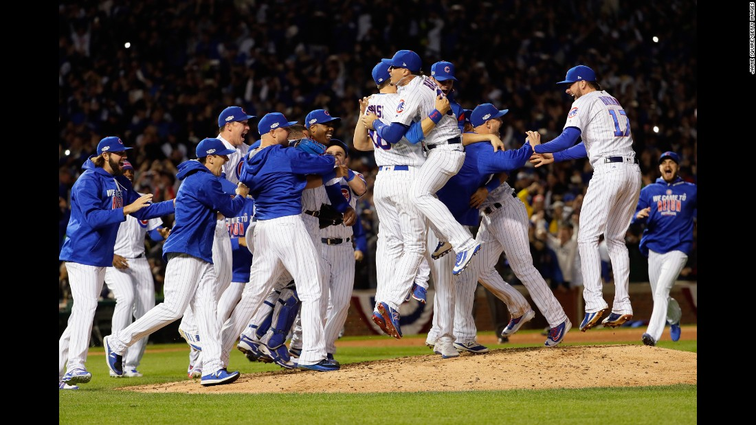 "The Chicago Cubs celebrate after <a href=""http://www.cnn.com/2016/10/22/us/chicago-cubs-world-series-bid/"" target=""_blank"">winning the National League pennant</a> on Saturday, October 22. They will be playing in the World Series for the first time since 1945."