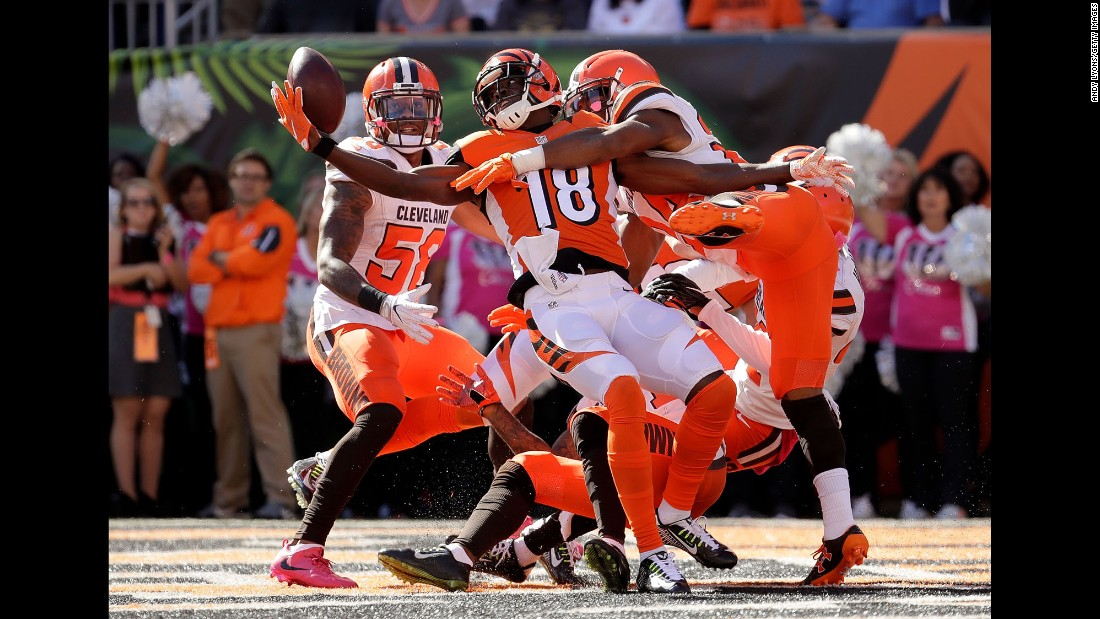 Cincinnati wide receiver A.J. Green catches a pass at the end of the first half against Cleveland on Sunday, October 23.