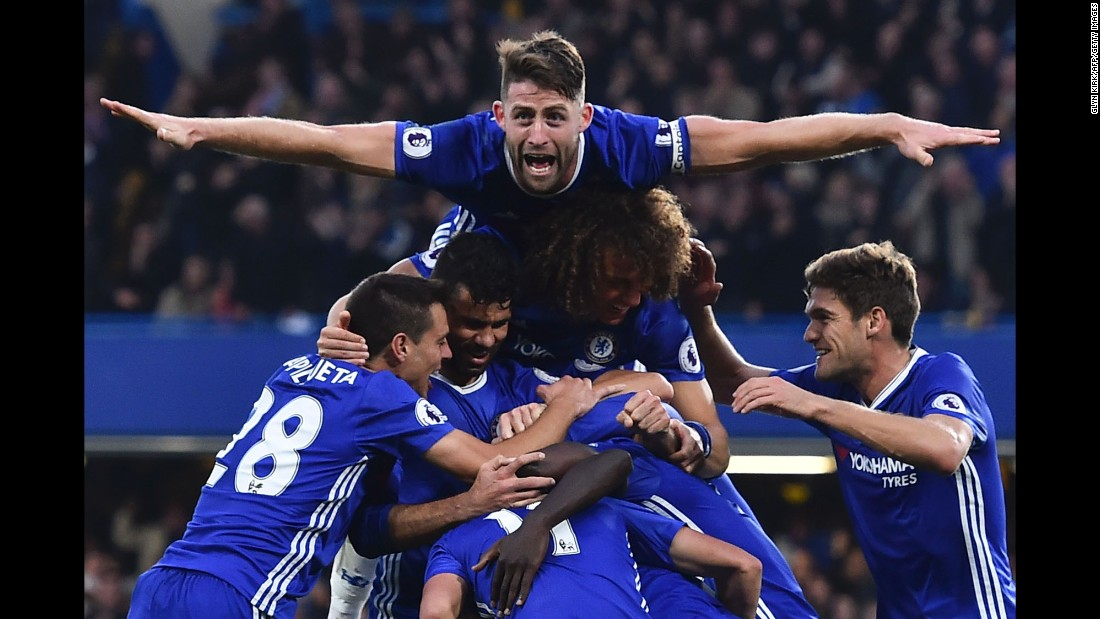"Chelsea players celebrate after N'Golo Kante's goal put the finishing touches on a 4-0 thrashing of Manchester United on Sunday, October 23. The London match was <a href=""http://www.cnn.com/2016/10/23/football/football-epl-man-utd-chelsea-mourinho/index.html"" target=""_blank"">a nightmare return for Jose Mourinho,</a> Chelsea's former manager who now leads United."