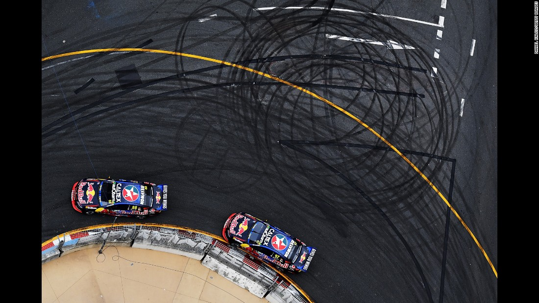 Jamie Whincup leads Shane Van Gisbergen during a Supercars race in Gold Coast, Australia, on Sunday, October 23.