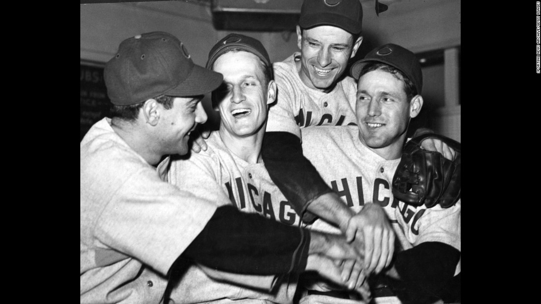 Cubs players Phil Cavarretta, Hank Borowy, Andy Pafko, and Bill Nicholson pose for a photo during game four.