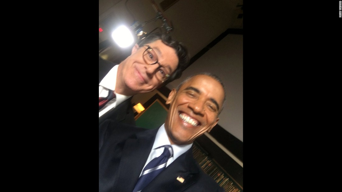 "Late-night talk-show host Stephen Colbert gets a selfie with President Barack Obama on Thursday, October 13. ""Hey, if you're hiring, this guy's looking for a new gig,"" <a href=""https://twitter.com/StephenAtHome/status/786693753050394626"" target=""_blank"">Colbert tweeted</a> ahead of the President's appearance on his show."