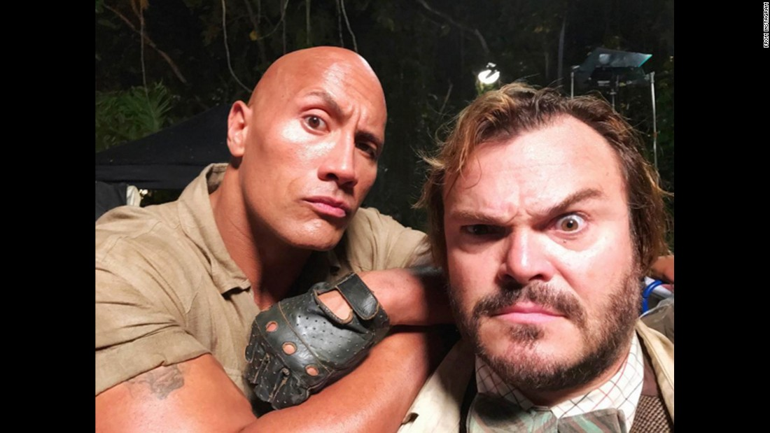 "Dwayne Johnson, left, posted this selfie with fellow actor Jack Black on Thursday, October 20. They were filming ""Jumanji."" ""On set. 2am and still going strong,"" <a href=""https://www.instagram.com/p/BLyMNFlDixq/"" target=""_blank"">Johnson said on Instagram.</a>"