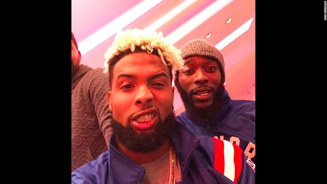 "Football star Odell Beckham Jr. mugs for the camera as he <a href=""https://www.instagram.com/p/BL6i2GxAkcE/"" target=""_blank"">takes a selfie</a> with his teammate Dominique Rodgers-Cromartie on Sunday, October 23."