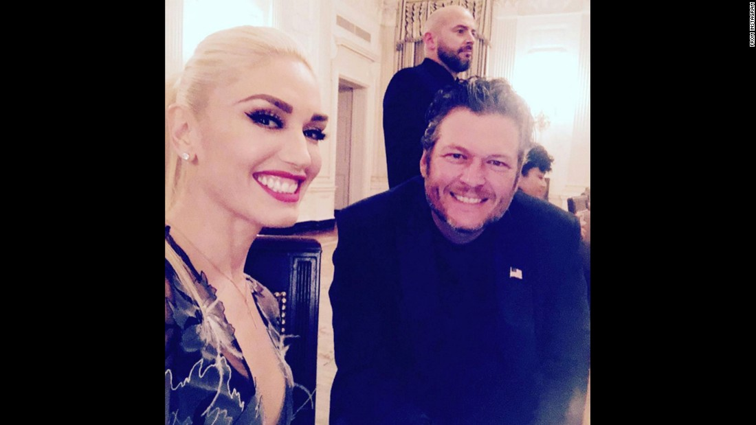 "Singer Gwen Stefani <a href=""https://www.instagram.com/p/BLzJq6cDojw/"" target=""_blank"">posted this selfie </a>of her and her boyfriend, singer Blake Shelton, on Thursday, October 20. They both performed at the White House as President Obama hosted his final state dinner."
