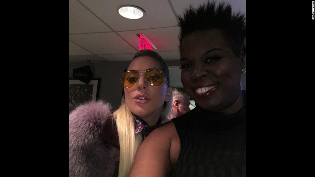 "Comedian Leslie Jones, right, snaps a selfie with singer Lady Gaga on Saturday, October 23. ""QUEEN!!"" <a href=""https://www.instagram.com/p/BL5ryMVgOw8/"" target=""_blank"">Jones said on Instagram. </a>"