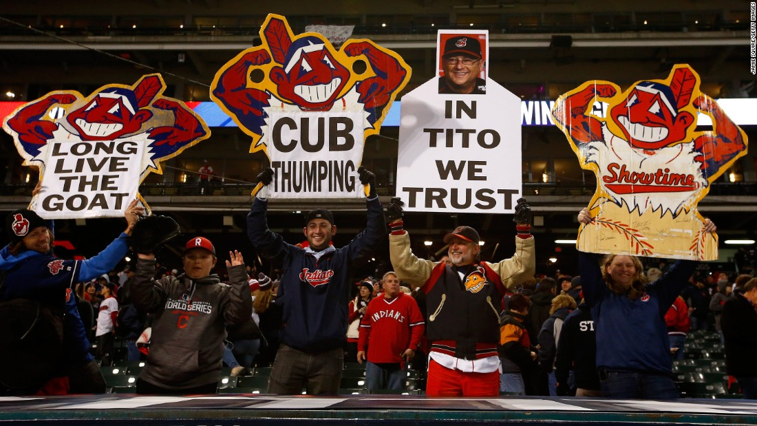 Cleveland Indians fans show their enthusiasm during the first game in Game 1.